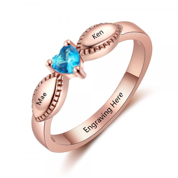 Engravable Rose Love Heart Cut 1 Stone Birthstone Ring In Sterling Silver
