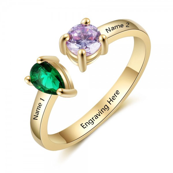 Affordable Yellow Heart Pear Cut, Round Cut 2 Stones Birthstone Ring In S925 Sterling Silver
