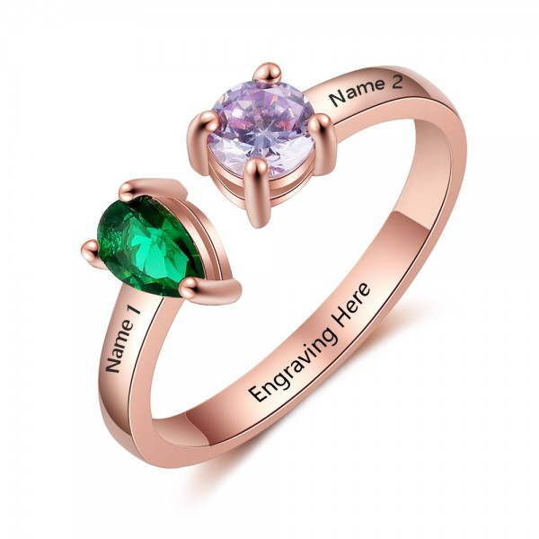 Engravable Rose Heart Pear Cut, Round Cut 2 Stones Birthstone Ring In 925 Sterling Silver