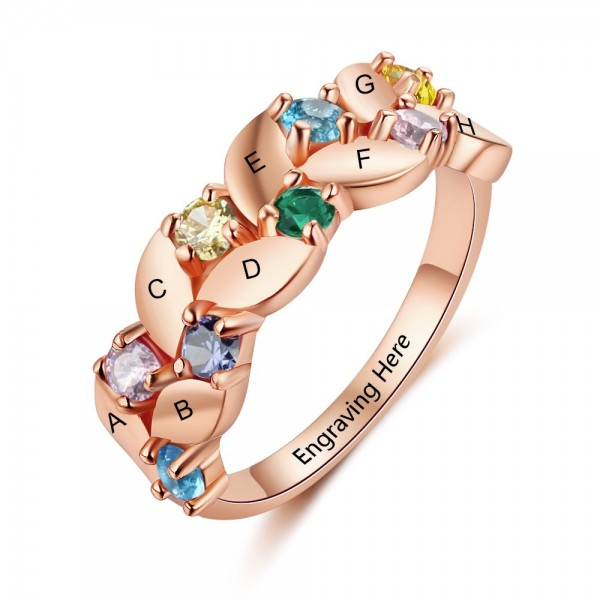 Personalized Rose Family Round Cut 8 Stones Birthstone Ring In Sterling Silver