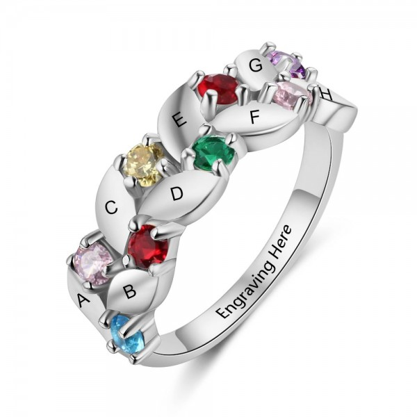 Affordable Silver Family Round Cut 8 Stones Birthstone Ring In Sterling Silver