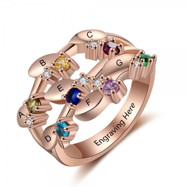 Fashion Rose Family Round Cut 7 Stones Birthstone Ring In Sterling Silver