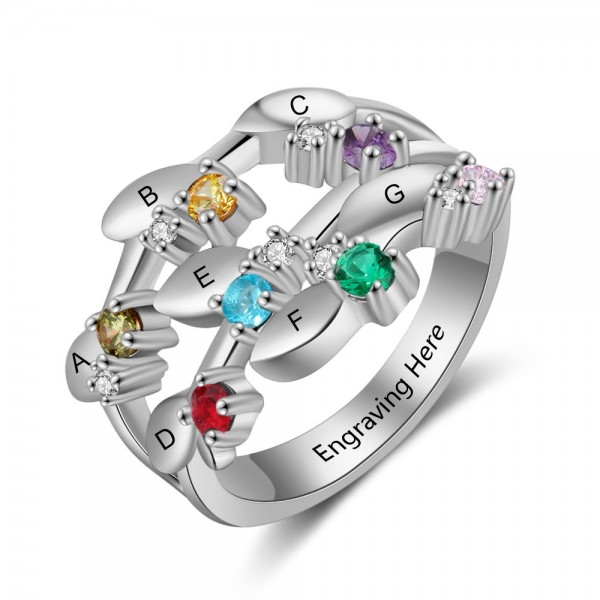 Affordable Silver Family Round Cut 7 Stones Birthstone Ring In Sterling Silver