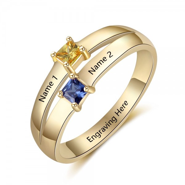 Affordable Yellow Stackable Princess Cut 2 Stones Birthstone Ring In Sterling Silver