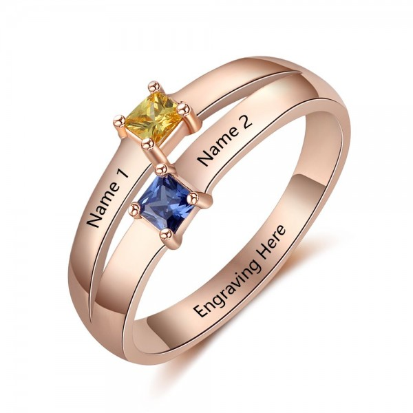 Personalized Rose Stackable Princess Cut 2 Stones Birthstone Ring In S925 Sterling Silver