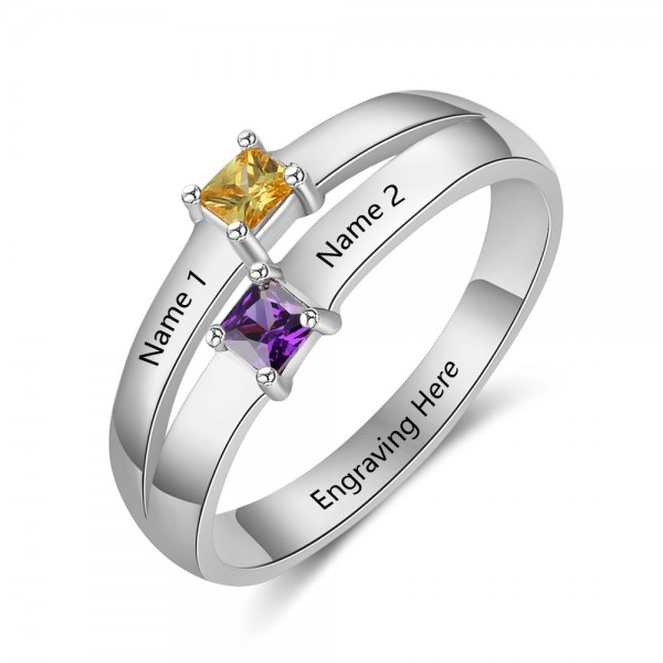 Unique Silver Stackable Princess Cut 2 Stones Birthstone Ring In 925 Sterling Silver