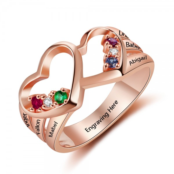 Engravable Rose Heart Round Cut 6 Stones Birthstone Ring In Sterling Silver