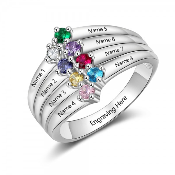 Personalized Silver Stackable Round Cut 8 Stones Birthstone Ring In 925 Sterling Silver