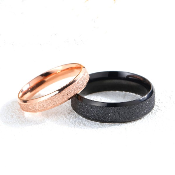 Black And Rose Gold Plated Stainless Steel His and Her Couple Rings