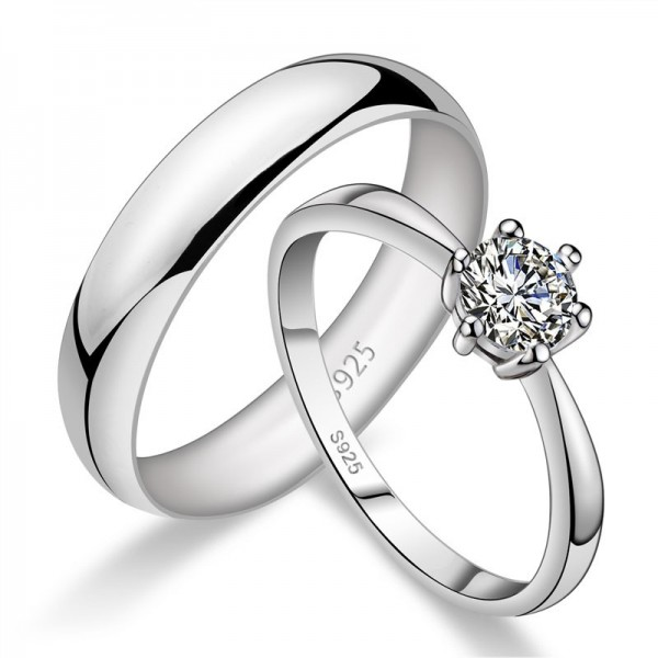 Engravable White Gold Couple Ring In Sterling Silver Perfect Valentine's Day Gift