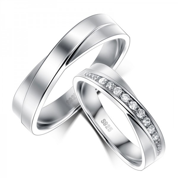 925 Sterling Silver White Gold Plated Couple Rings With Cubic Zirconia Side Accent