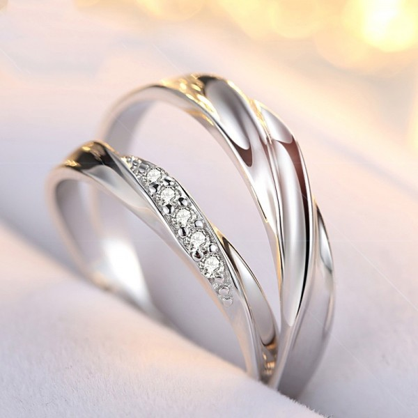 White Gold Plated Simple Promise Rings For Couples In 925 Sterling Silver