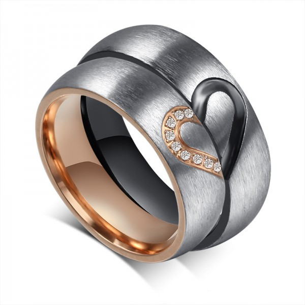 Black And Rose Matching Heart Couple Rings In Titanium Steel With Cubic Zirconia