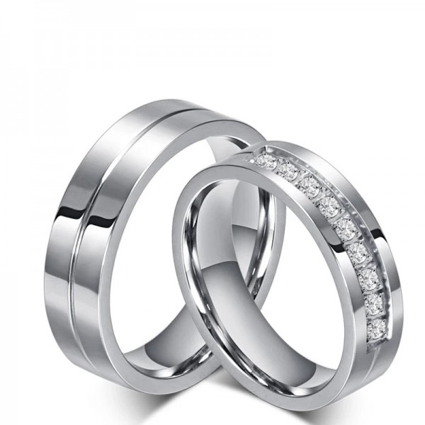 White Simple Couple Rings In Stainless Steel With Cubic Zirconia