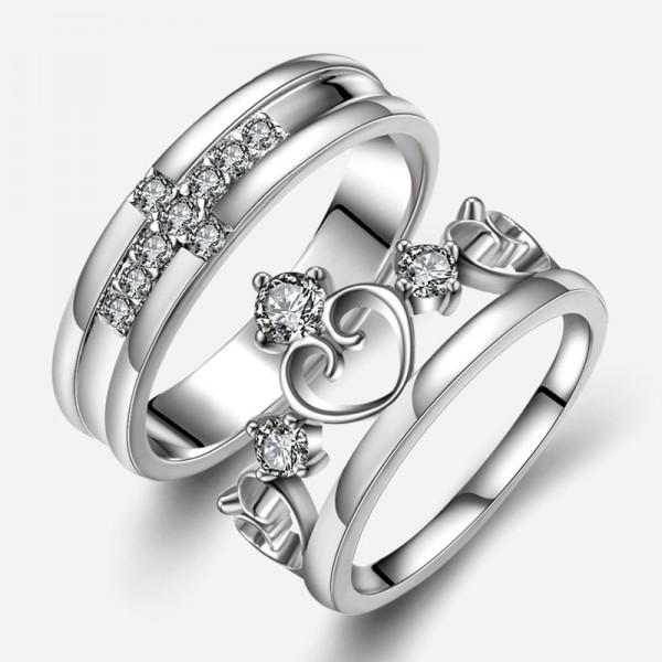 Sterling Silver Crown Promise Ring For Couple With Cross And Tiara Shape Cubic Zirconia