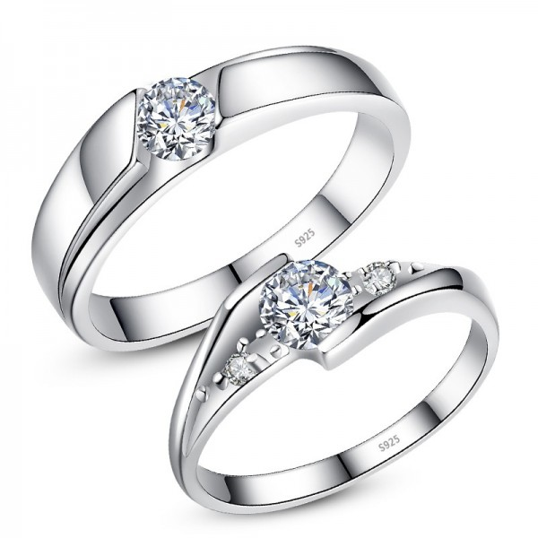 Round-cut Solitaire Promise Rings For Couples In 925 Sterling Silver Best Valentine's Day gift