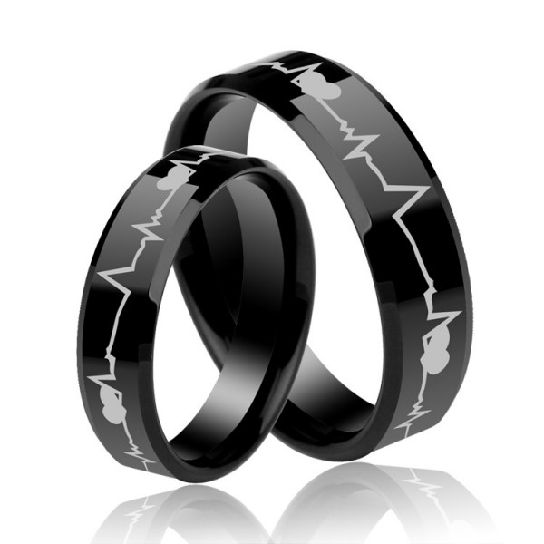 Black Couple's Engravable Heartbeats Promise Rings in Titanium