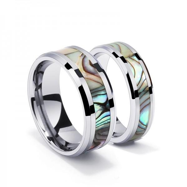 Engravable Couple Band For His And Her In Tungsten With Seashell Inlaid