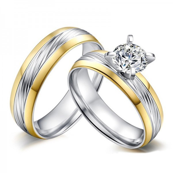 Yellow And White Two-Tone Couple Rings In Stainless Steel With Round-cut Cubic Zirconia