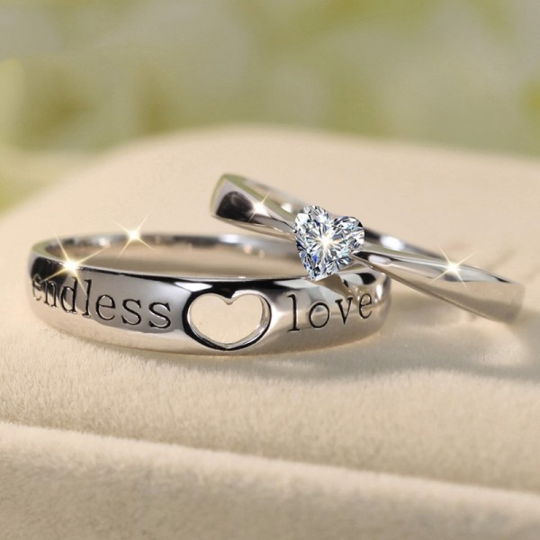 Endless Love Heart Cut Gemstone 925 Sterling Silver Couple Sets