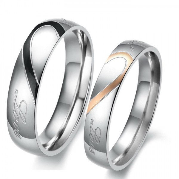 Engravable Matching Heart Couple Rings In Stainless Steel For BF & GF