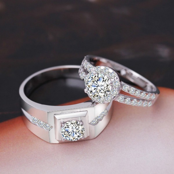 Solitaire with Side Accent Cubic Zirconia Promise Rings Set For Couples In 925 Sterling Silver