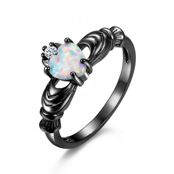 Heart Cut Opal Promise Rings For Her In Sterling Silver Black And White Optional
