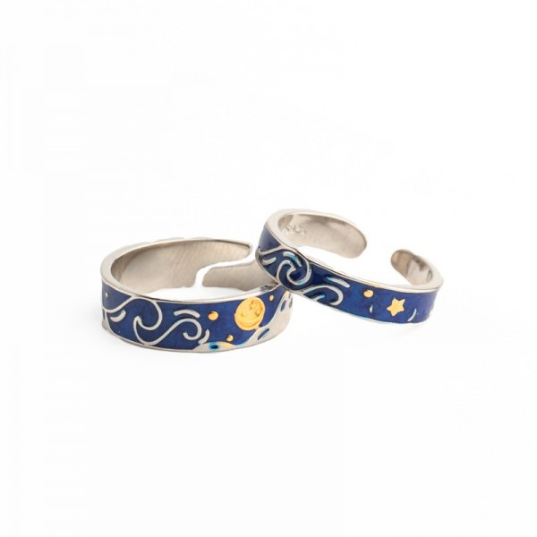 The Starry Night Engravable Promise Rings For Couples In 925 Sterling Silver