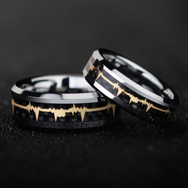 Engravable Heartbeat Couple Rings In Tungsten For Her And Him