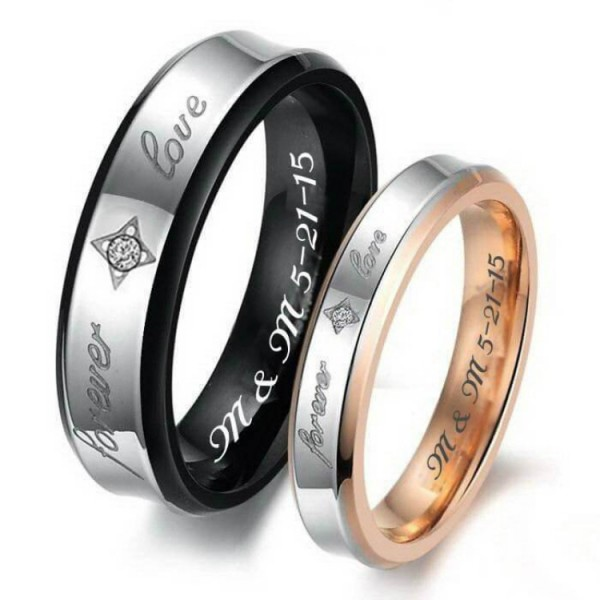 Engravable Forever Love Couples Rings In Titanium Rose And Black Two-Tone