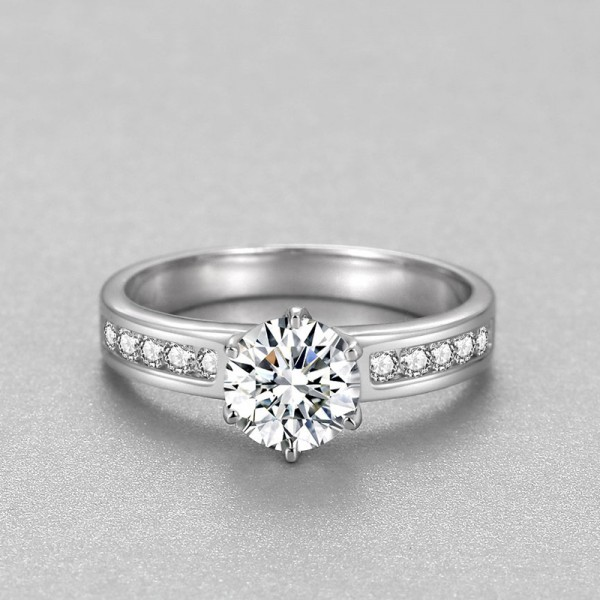 Round Cut Solitaire with Side Accent Engagement Rings Promise Rings In 925 Sterling Silver