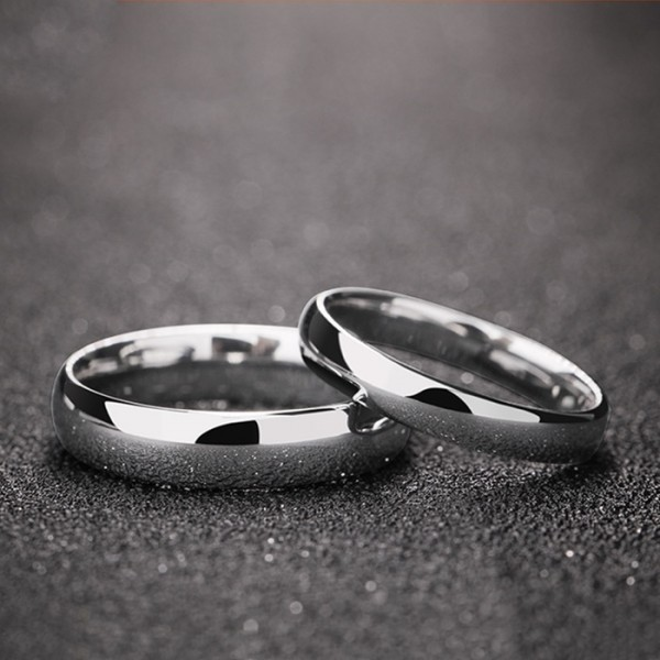 Engravable Simple Couple Rings In Tungsten Perfect Valentine's Day Gift