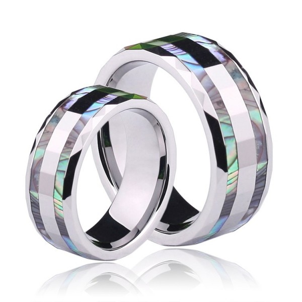 Engravable Unique Shell Couple Rings In Tungsten