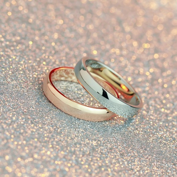 Engravable Silver And Rose Two-Tone Simple Couple Rings In Titanium