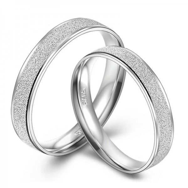 Simple Frosted Ring For Couples In 925 Sterling Silver