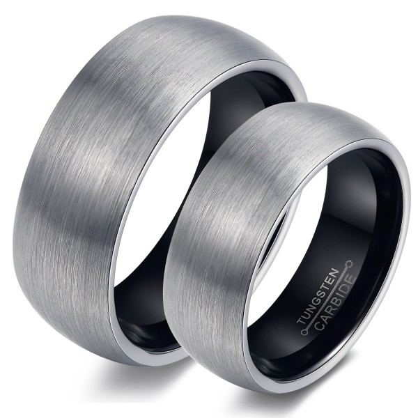 Tungsten Simple Frosted Couple Ring Rose And Black Two-Tone Optional