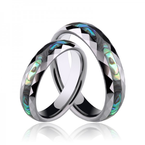 Engravable Couple's Unique Shell Rings In Tungsten