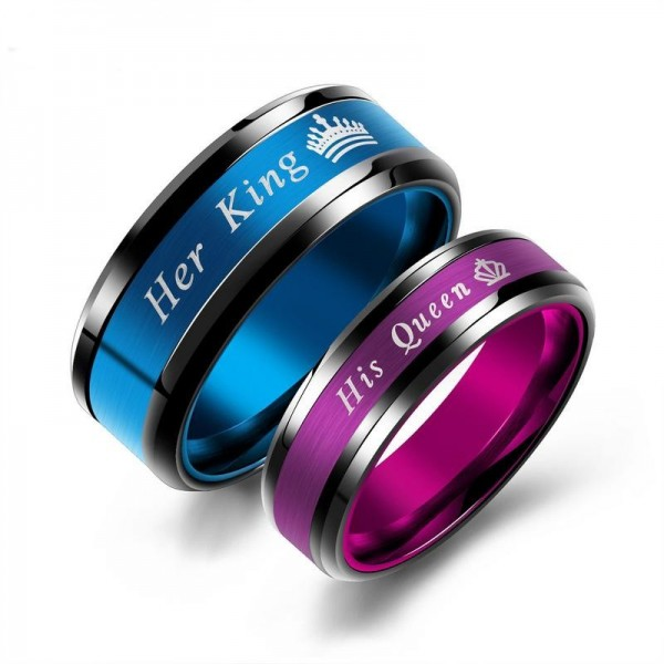 Her King His Queen Stainless Steel Couple Rings
