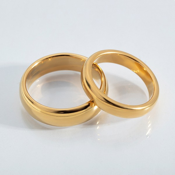 Engravable Simple Tungsten Couple Ring For Him And Her Gold Silver Black Optional