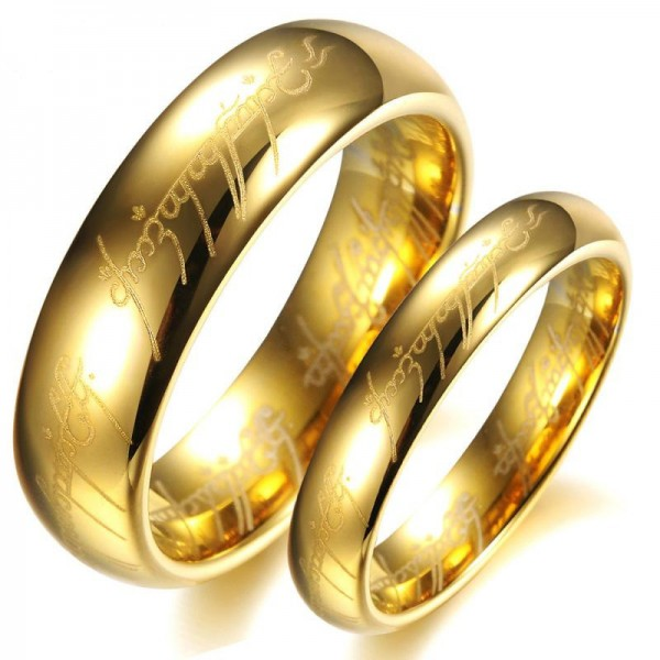The Lord Of The Rings Yellow Gold Plated Tungsten Couple Rings