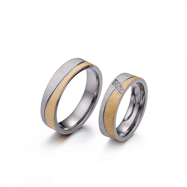 Gold And Silver Bicolor Frosted Titanium Steel Couple Rings