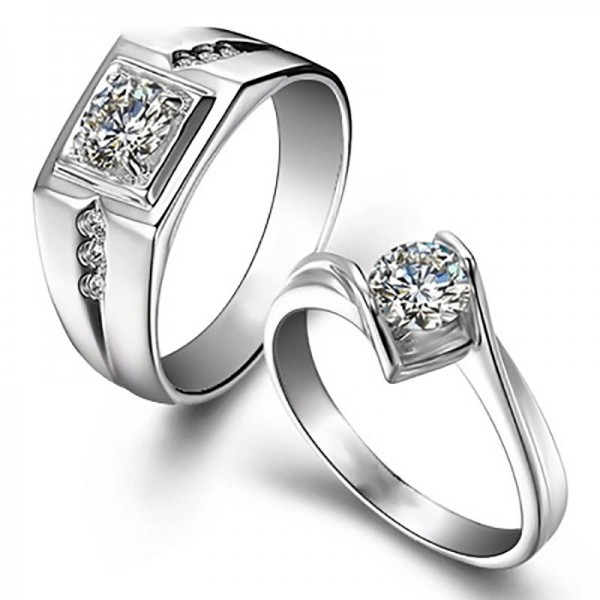 Round Cut Cubic Zirconia 925 Sterling Silver Halo Engagement Rings Promise Ring For Couples
