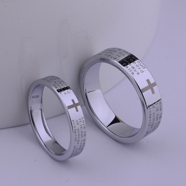Couple's Engravable Tungsten Cross Ring For Him And Her