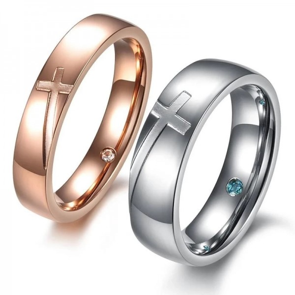 Engravable Titanium Silver and Rose Gold Cross Couple Rings