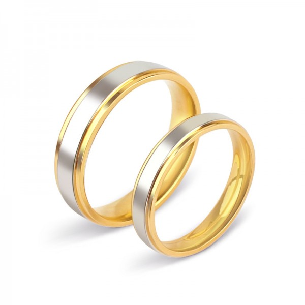 Engravable Simple Yellow And Silver Two Tone Couple Ring For Him And Her