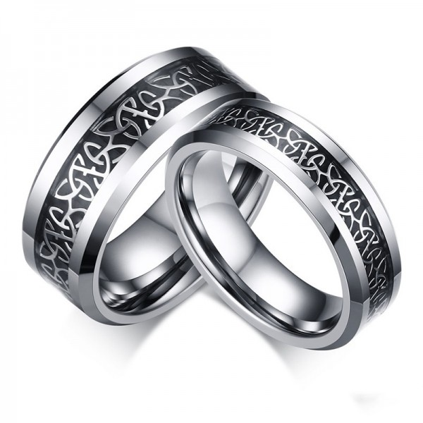 Engravable Tungsten Silver and Black Knot Couple Rings