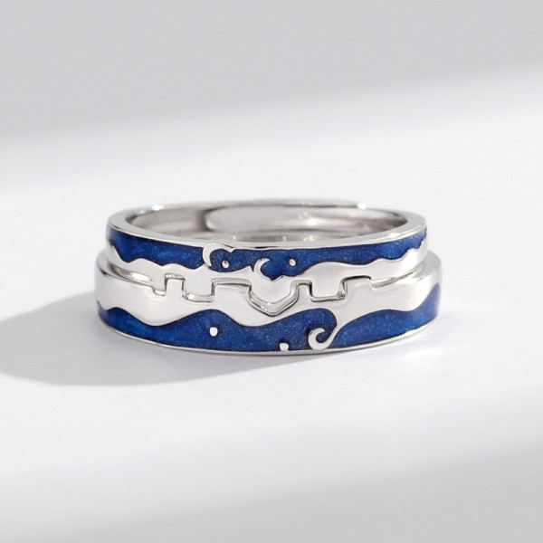 Original Design Love Of The City Couple Rings For Her And Him In 925 Sterling Silver