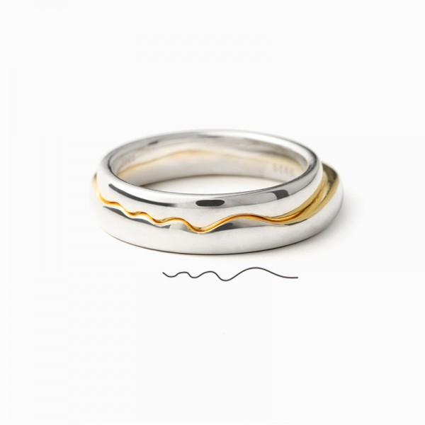 Original Engravable Sterling Silver Plated Gold Kiss Style Couple Ring