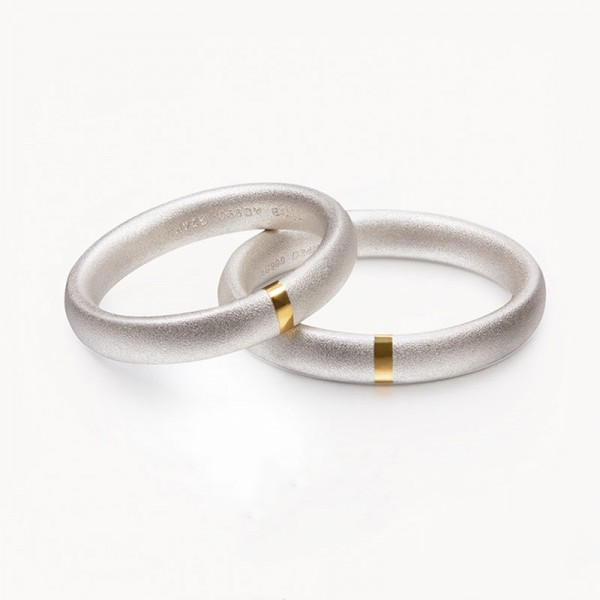 Original Engravable Sterling Silver Inlay 24K Gold Frosted Couple Ring
