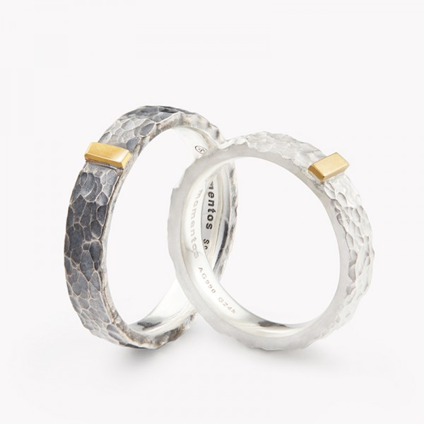 Original Couple's Engravable Sterling Silver Inlay 24K Gold Promise Ring